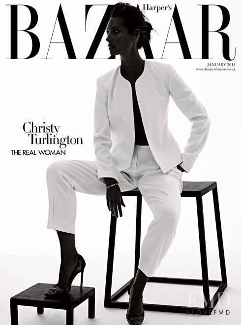 Christy Turlington featured on the Harper\'s Bazaar UK cover from January 2014