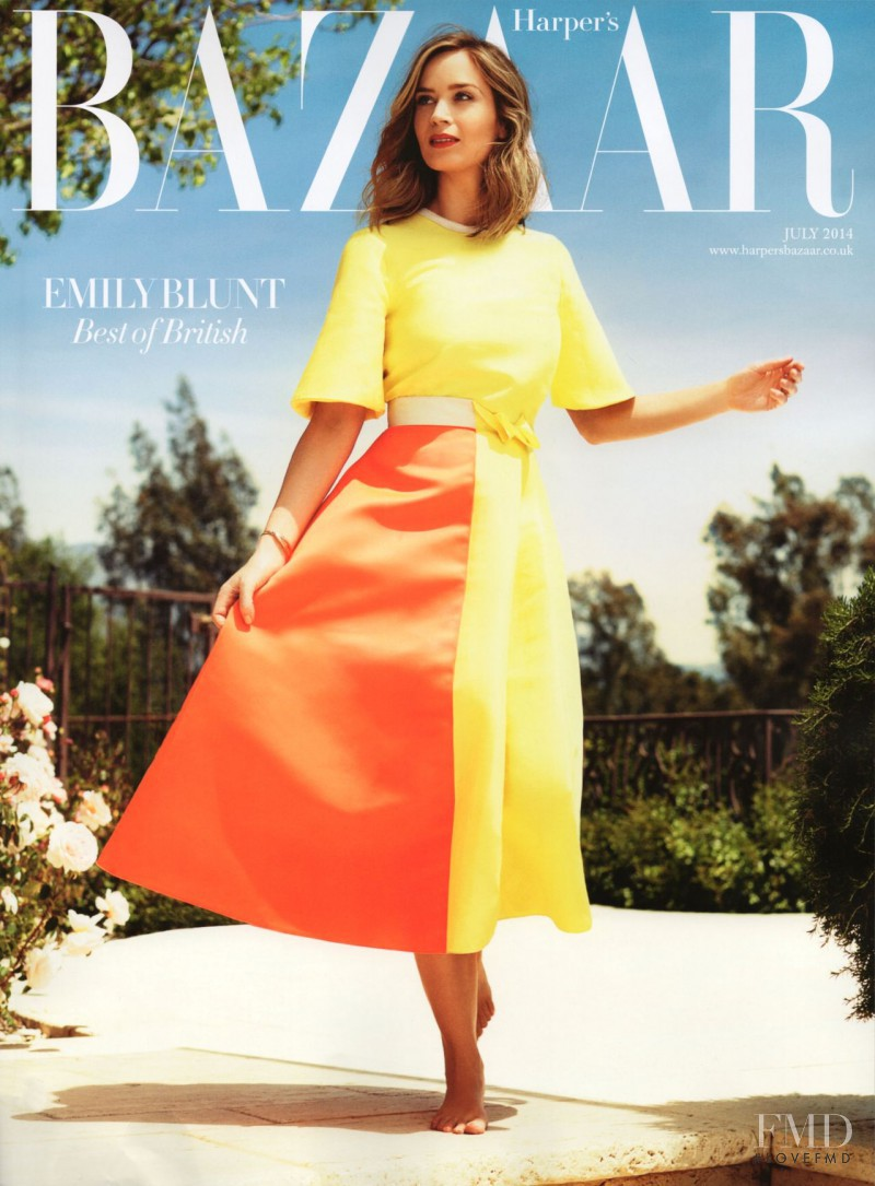 Emily Blunt featured on the Harper\'s Bazaar UK cover from July 2014
