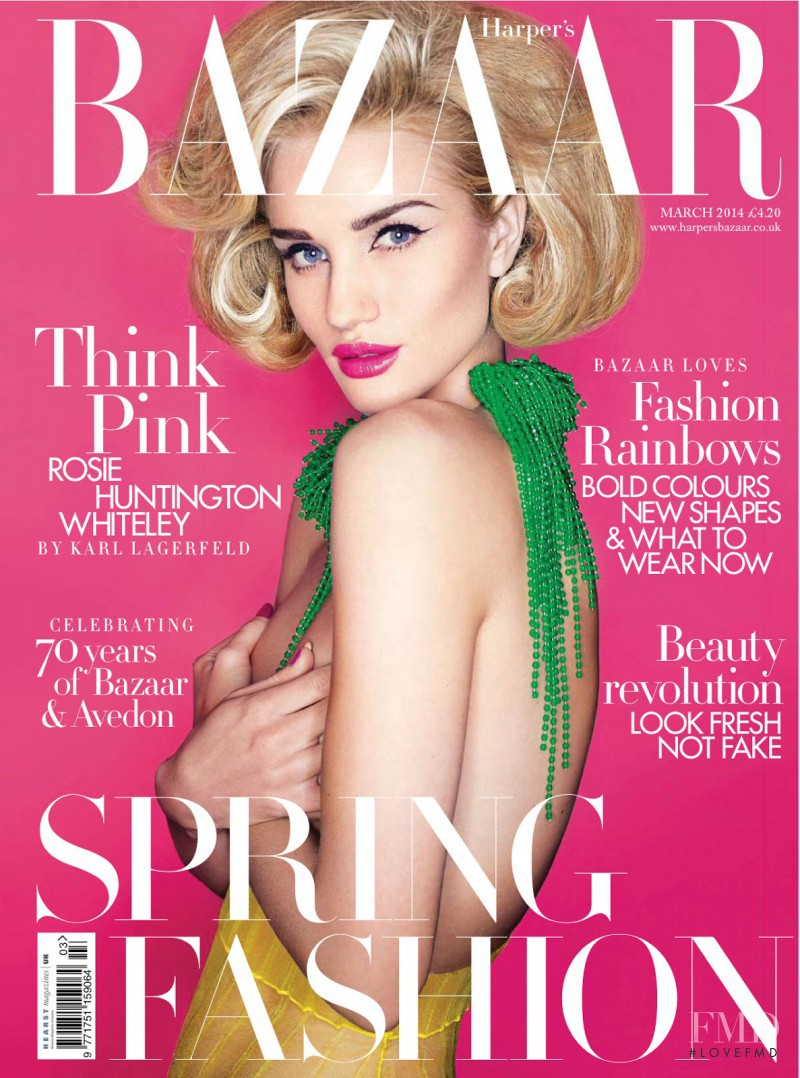 Rosie Huntington-Whiteley featured on the Harper\'s Bazaar UK cover from March 2014