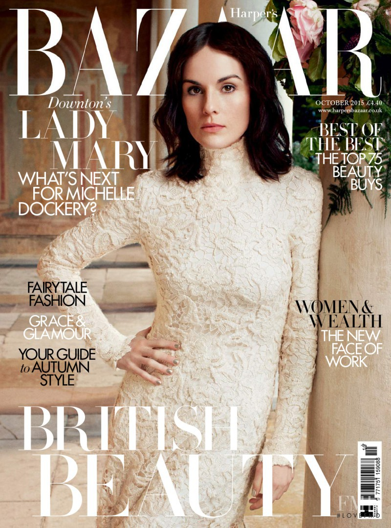 Michelle Dockery featured on the Harper\'s Bazaar UK cover from October 2015