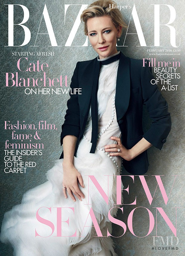 Cate Blanchett  featured on the Harper\'s Bazaar UK cover from February 2016