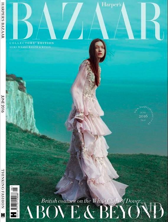 Yumi Lambert featured on the Harper\'s Bazaar UK cover from June 2016