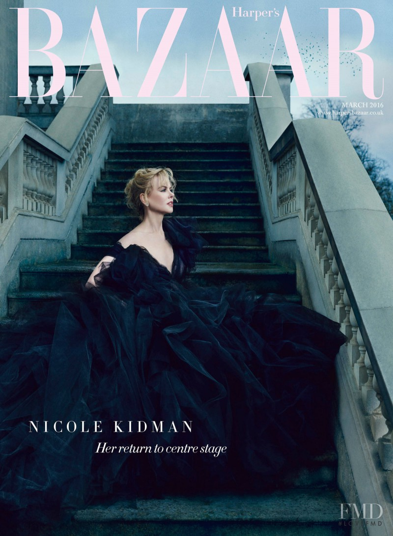Nicole Kidman featured on the Harper\'s Bazaar UK cover from March 2016