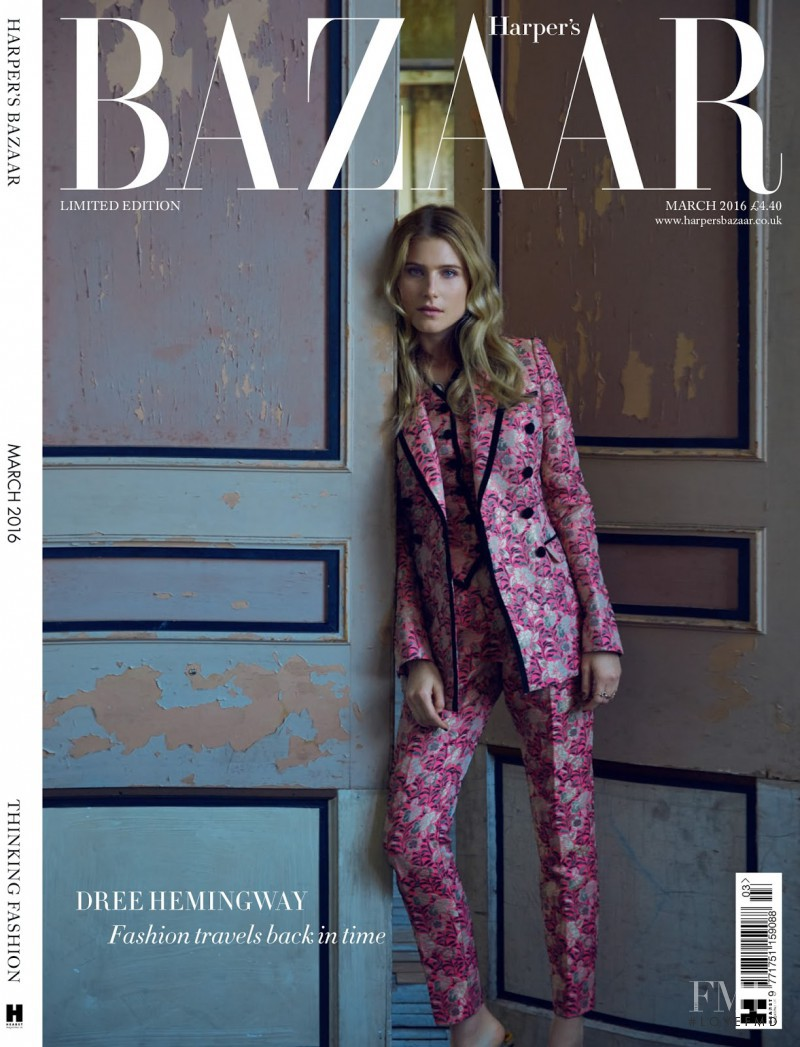 Dree Hemingway featured on the Harper\'s Bazaar UK cover from March 2016