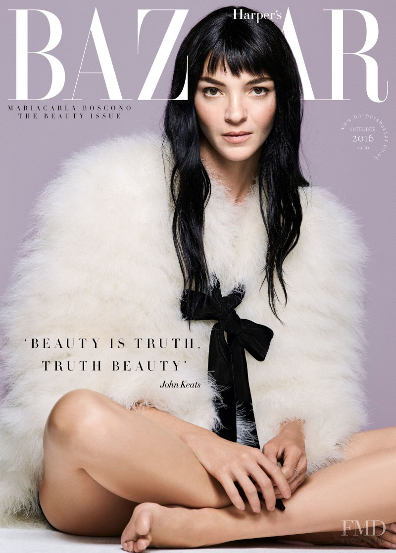 Mariacarla Boscono featured on the Harper\'s Bazaar UK cover from October 2016