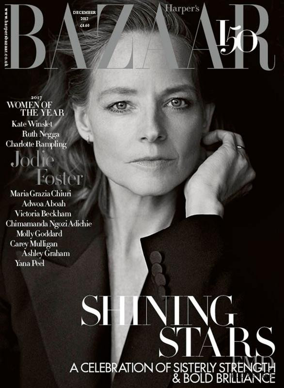 Jodie Foster featured on the Harper\'s Bazaar UK cover from December 2017