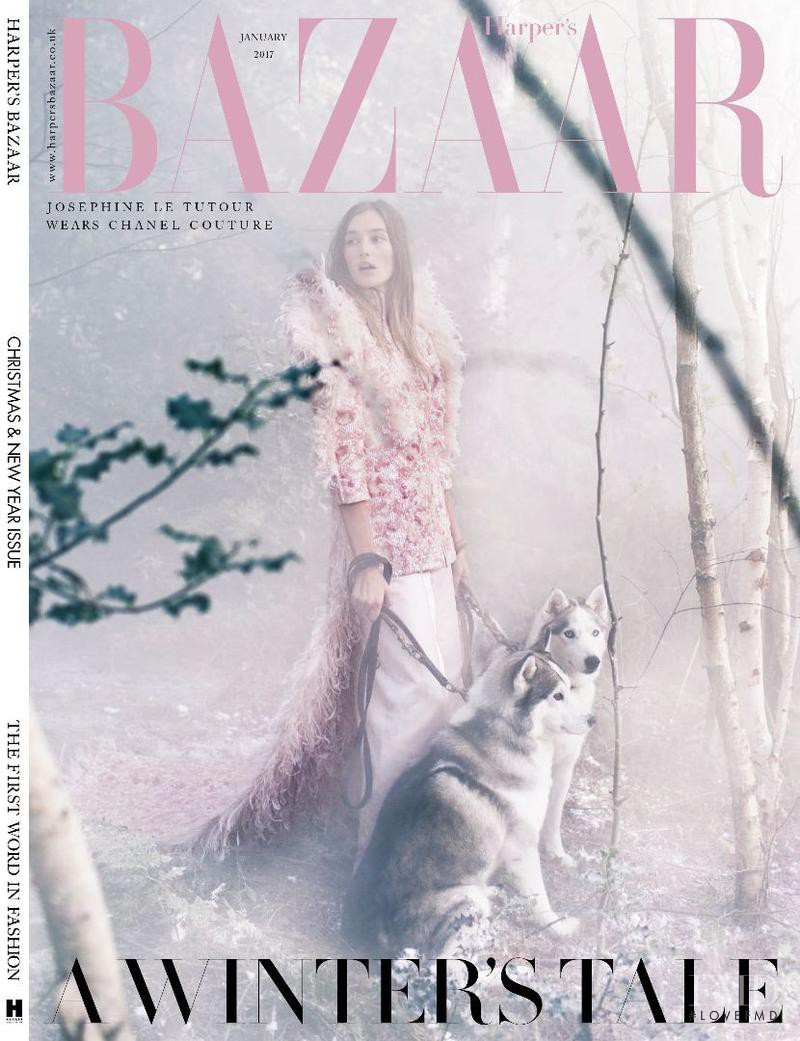 Joséphine Le Tutour featured on the Harper\'s Bazaar UK cover from January 2017