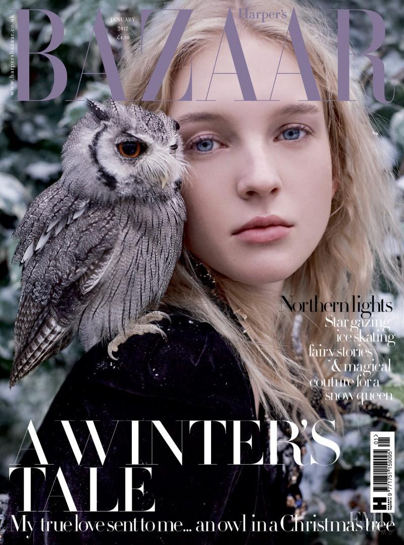 Nastya Sten featured on the Harper\'s Bazaar UK cover from January 2017