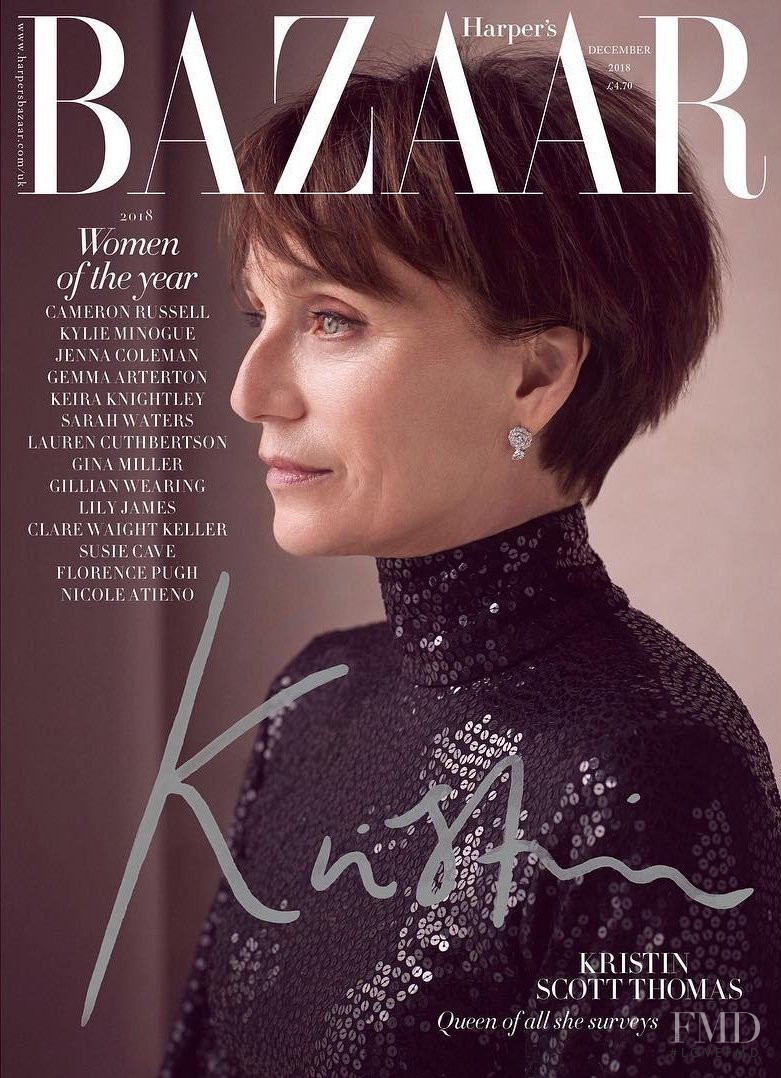 Kristin Scott Thomas featured on the Harper\'s Bazaar UK cover from December 2018