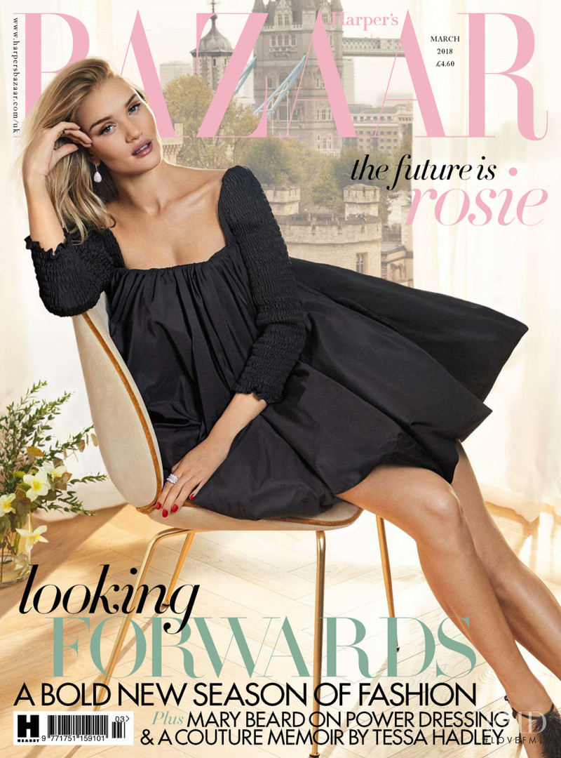 Rosie Huntington-Whiteley featured on the Harper\'s Bazaar UK cover from March 2018