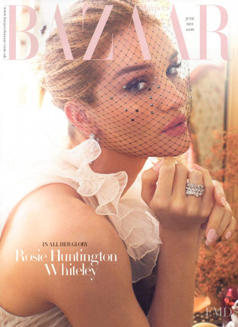 Rosie Huntington-Whiteley featured on the Harper\'s Bazaar UK cover from June 2019