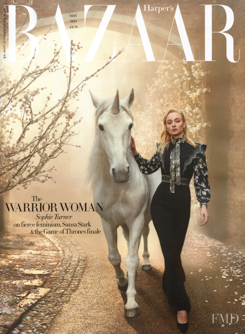 Sophie Turner featured on the Harper\'s Bazaar UK cover from May 2019