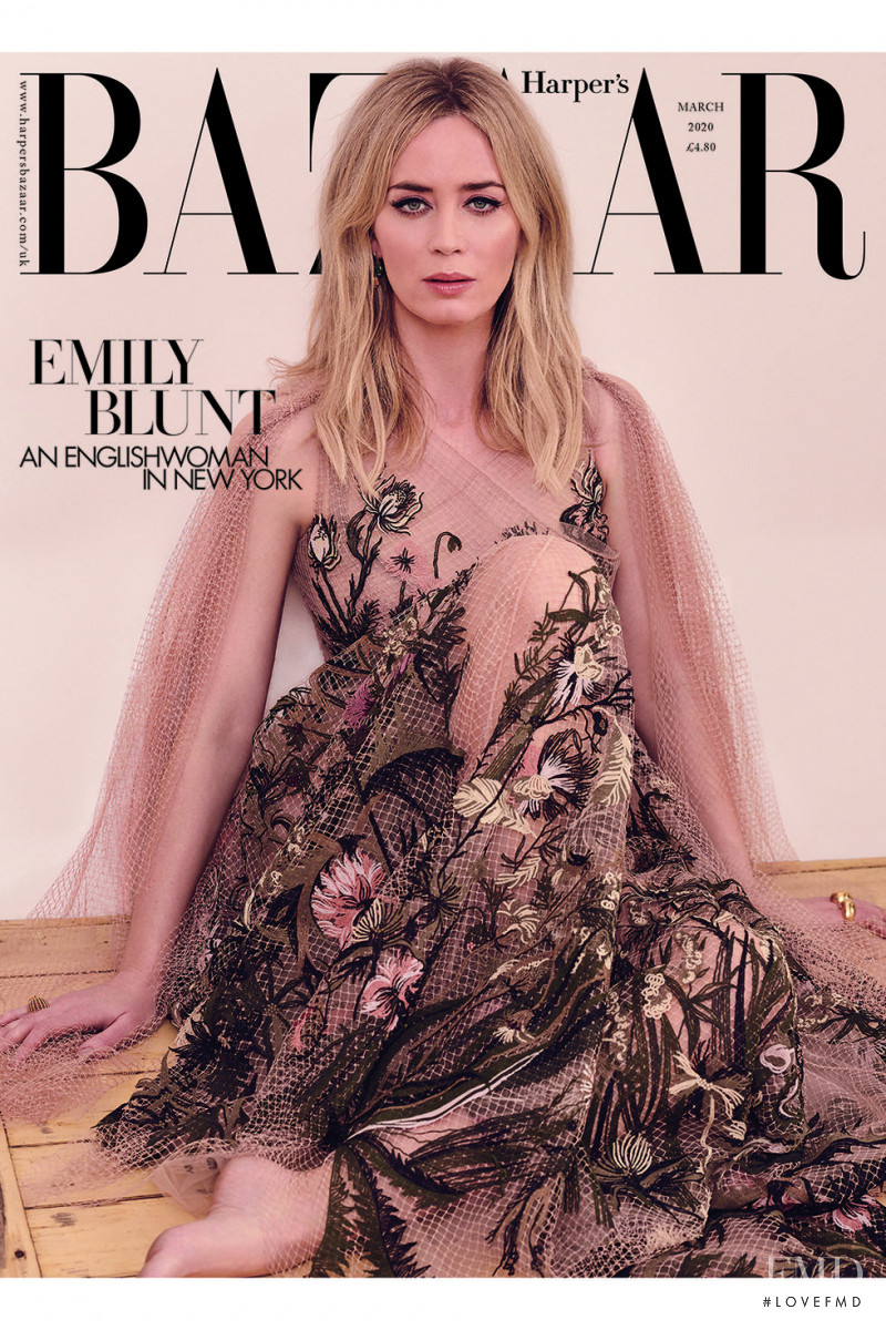 Emily Blunt featured on the Harper\'s Bazaar UK cover from March 2020