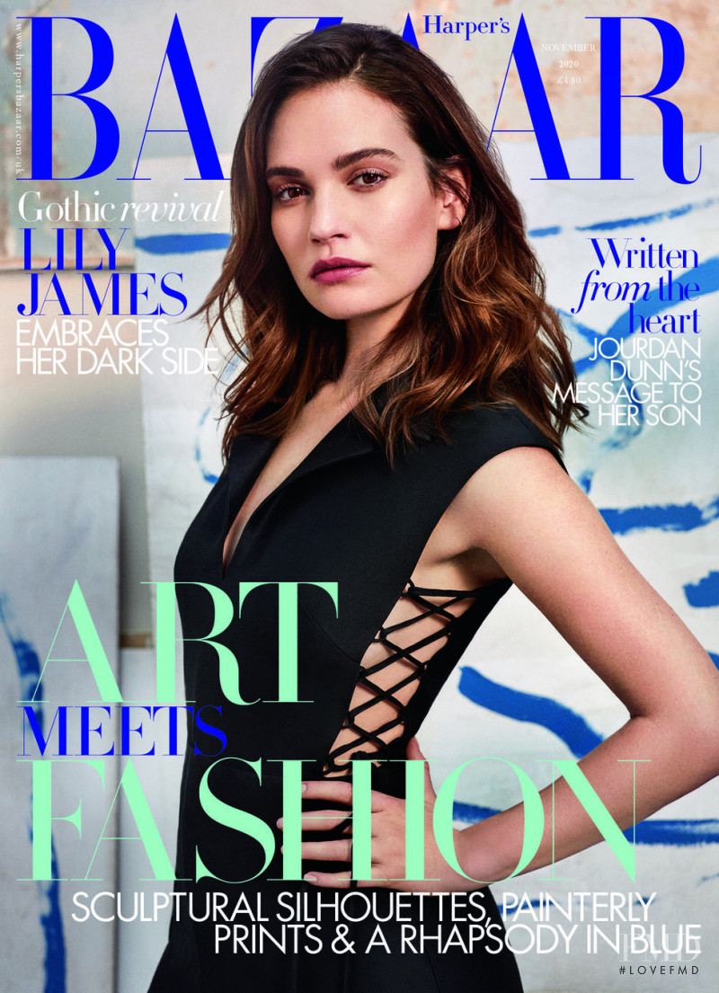 Lily James featured on the Harper\'s Bazaar UK cover from November 2020