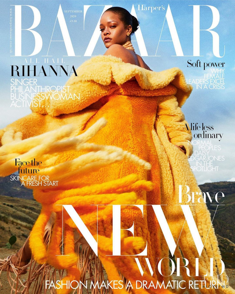 Rihanna featured on the Harper\'s Bazaar UK cover from September 2020