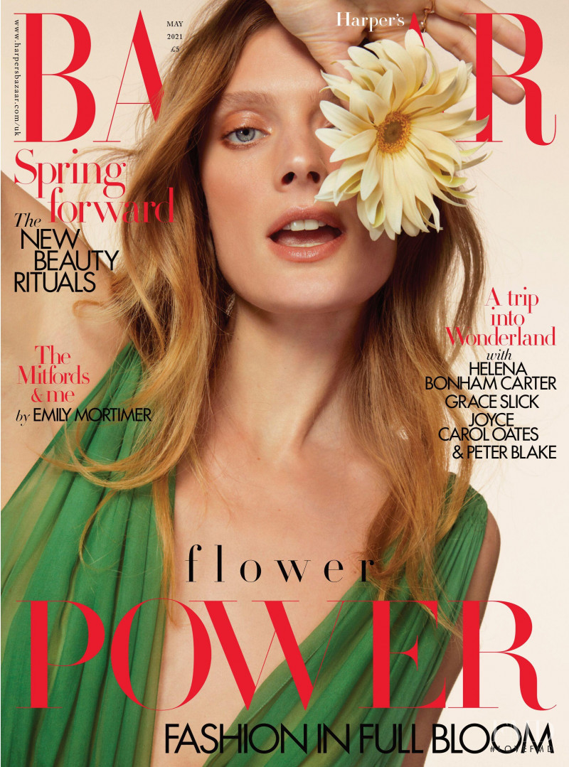 Constance Jablonski featured on the Harper\'s Bazaar UK cover from May 2021