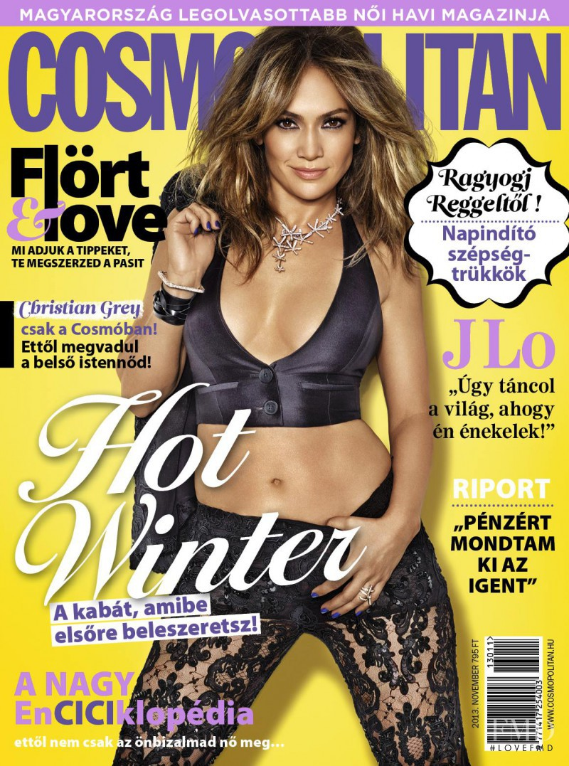Jennifer López featured on the Cosmopolitan Hungary cover from November 2013