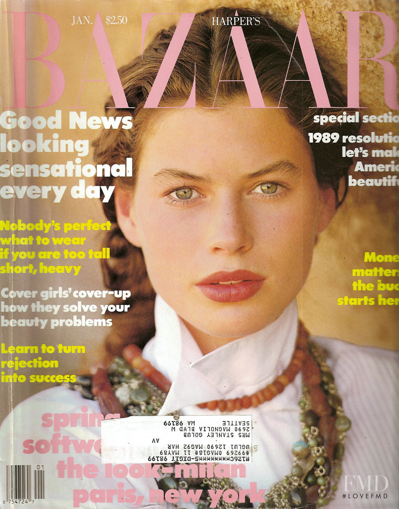 Carre Otis featured on the Harper\'s Bazaar USA cover from January 1990