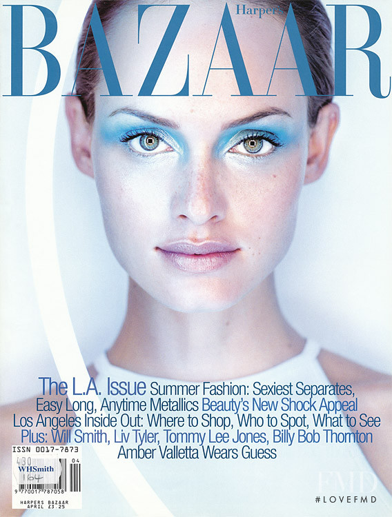 Amber Valletta featured on the Harper\'s Bazaar USA cover from April 1997