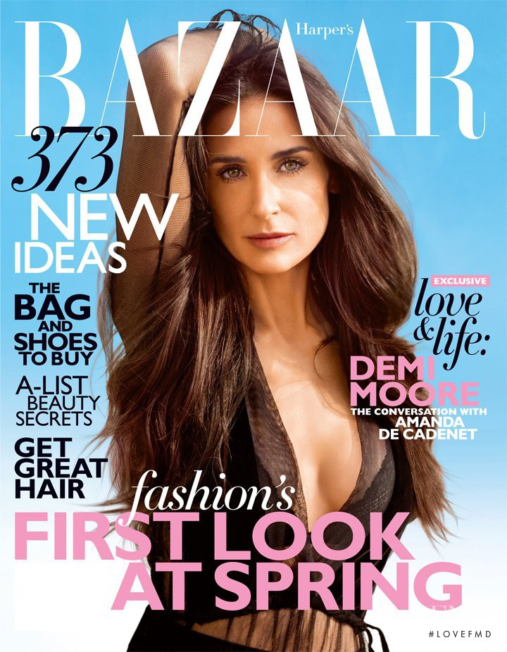Demi Moore featured on the Harper\'s Bazaar USA cover from February 2012