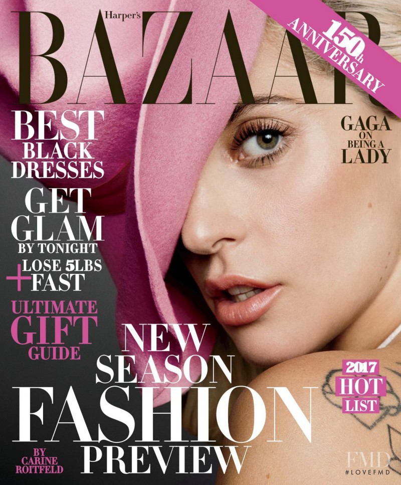 Lady Gaga featured on the Harper\'s Bazaar USA cover from December 2016