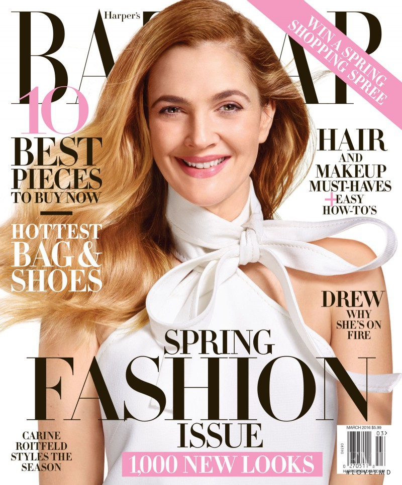 Drew Barrymore featured on the Harper\'s Bazaar USA cover from March 2016