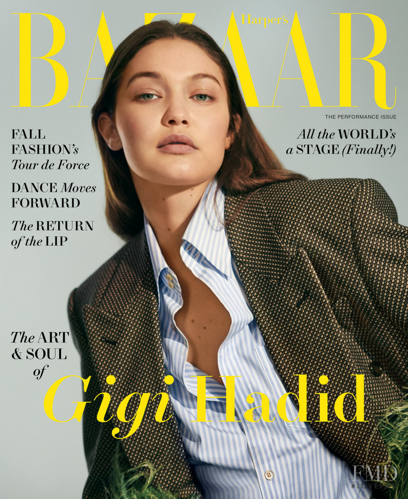Gigi Hadid featured on the Harper\'s Bazaar USA cover from August 2021