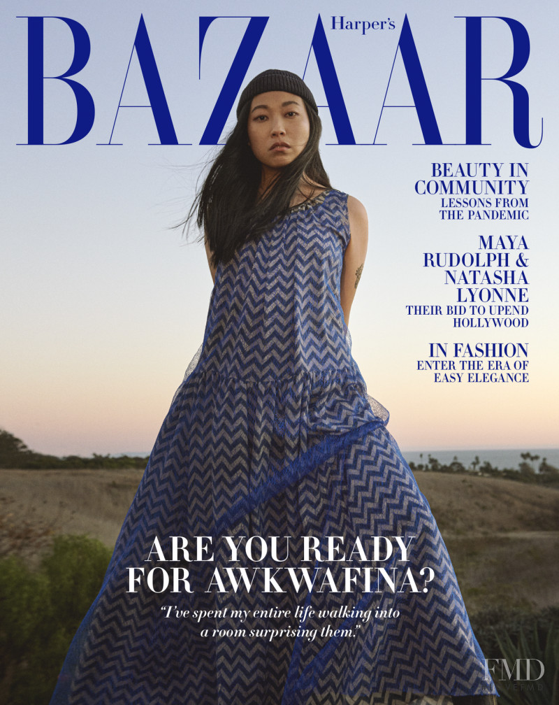 Awkwafina featured on the Harper\'s Bazaar USA cover from February 2021