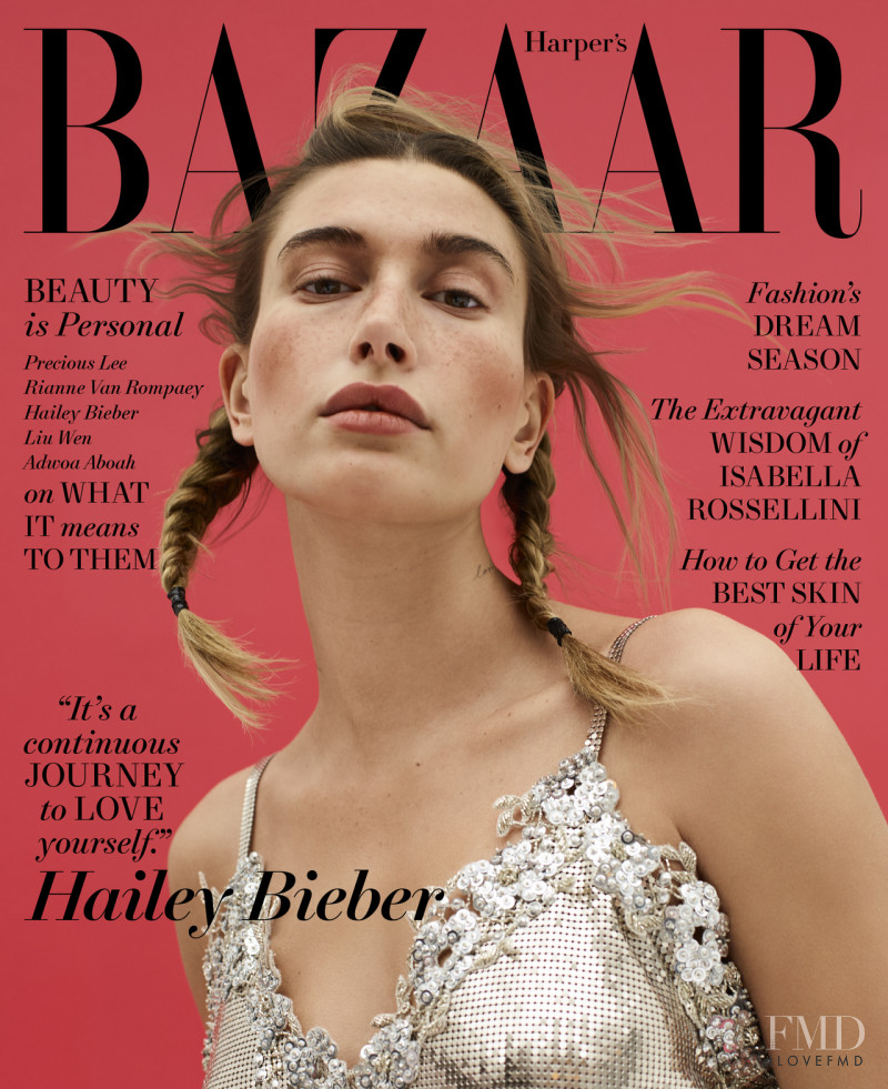 Hailey Baldwin Bieber featured on the Harper\'s Bazaar USA cover from May 2021