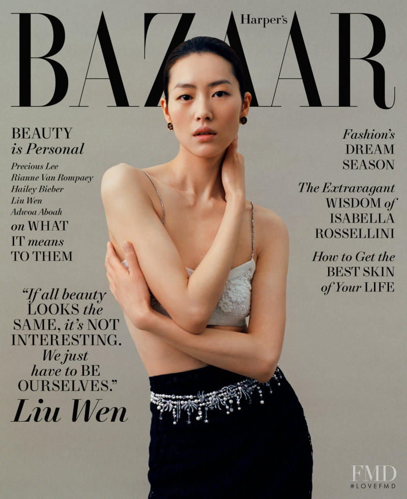 Liu Wen featured on the Harper\'s Bazaar USA cover from May 2021