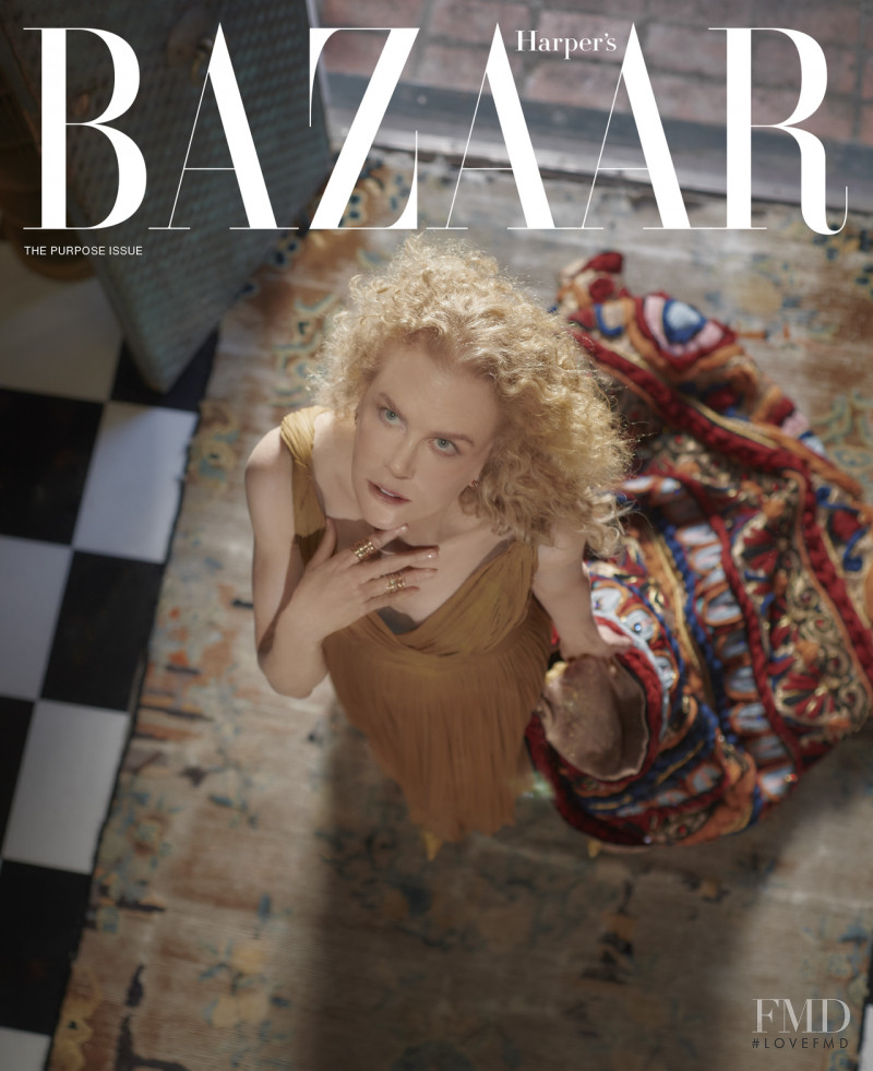 Nicole Kidman featured on the Harper\'s Bazaar USA cover from October 2021