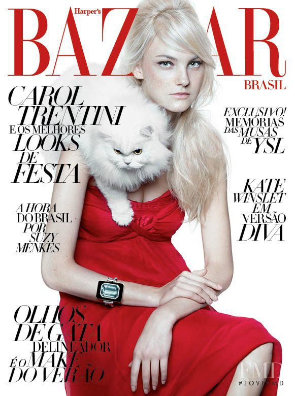 Caroline Trentini featured on the Harper\'s Bazaar Brazil cover from December 2011