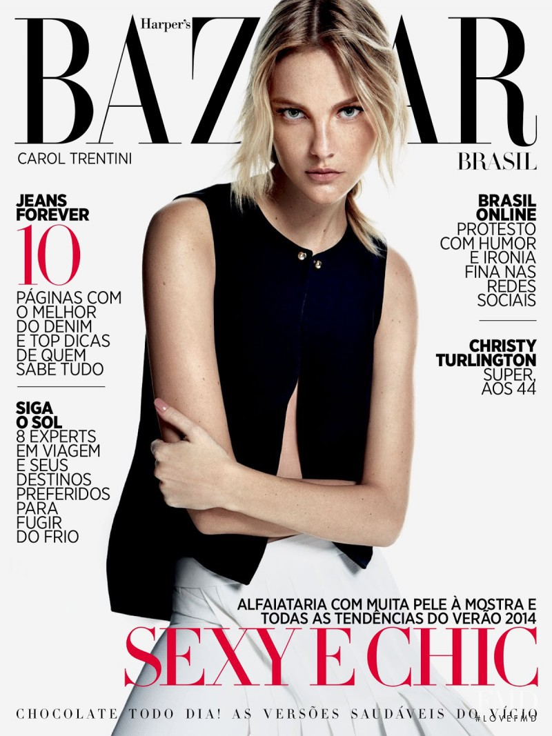 Caroline Trentini featured on the Harper\'s Bazaar Brazil cover from August 2013