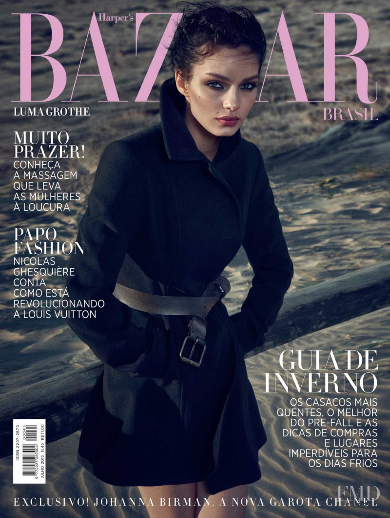 Luma Grothe featured on the Harper\'s Bazaar Brazil cover from July 2015