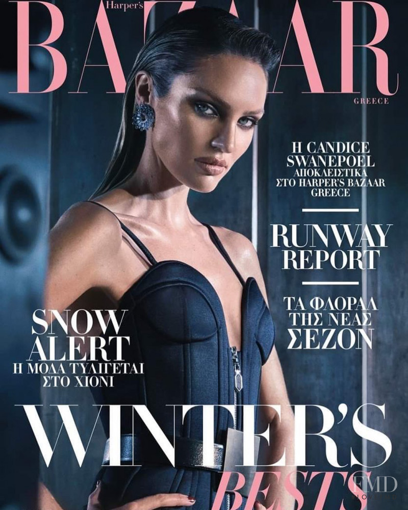 Candice Swanepoel featured on the Harper\'s Bazaar Greece cover from February 2020