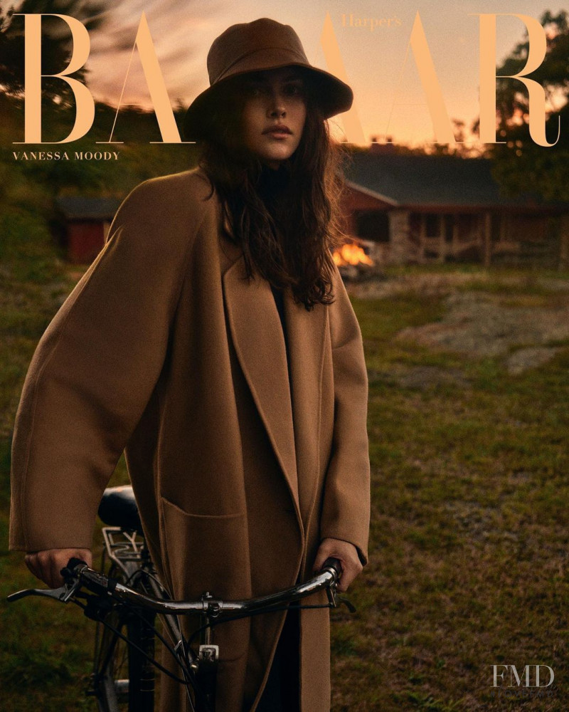 Vanessa Moody featured on the Harper\'s Bazaar Greece cover from October 2020
