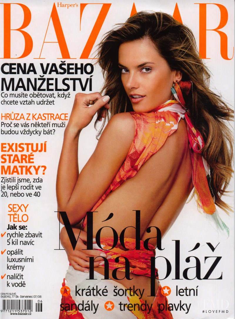 Alessandra Ambrosio featured on the Harper\'s Bazaar Czech cover from July 2006