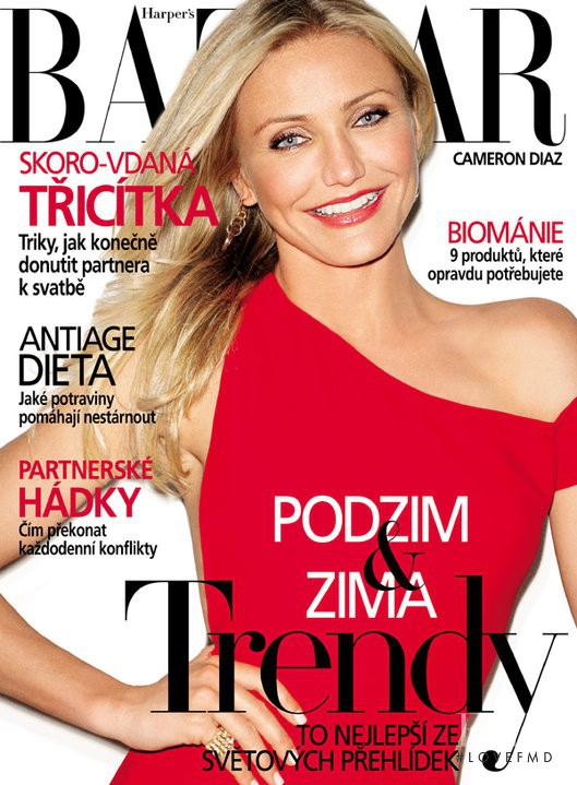 Cameron Diaz featured on the Harper\'s Bazaar Czech cover from August 2010