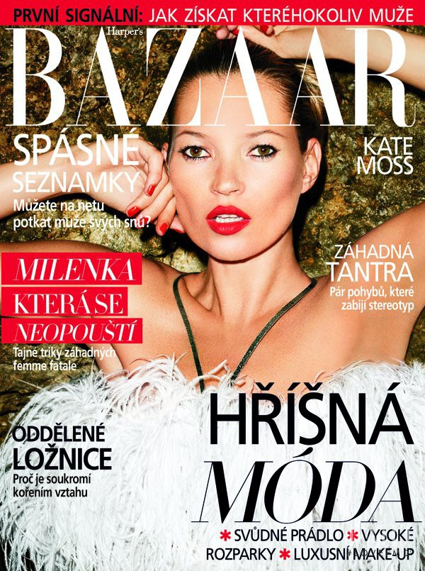 Kate Moss featured on the Harper\'s Bazaar Czech cover from August 2012