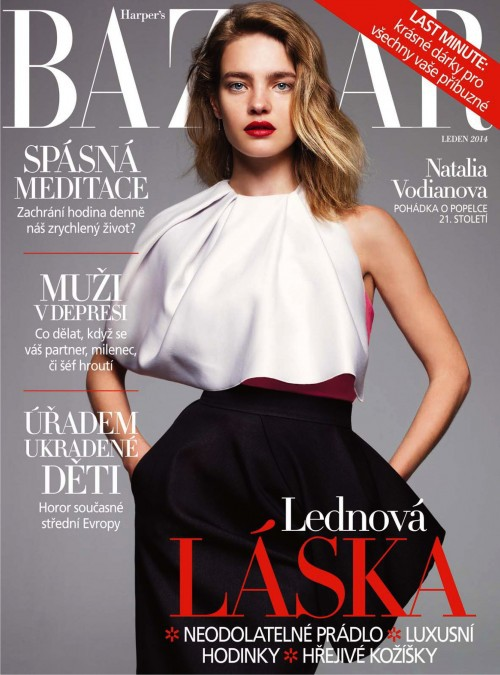Natalia Vodianova featured on the Harper\'s Bazaar Czech cover from January 2014