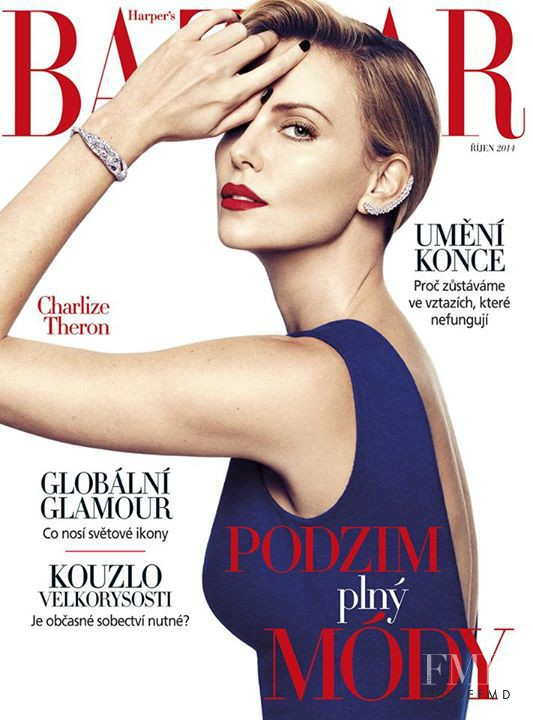 Charlize Theron featured on the Harper\'s Bazaar Czech cover from October 2014