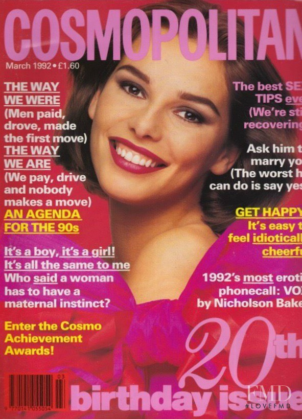 Claire Dhelens featured on the Cosmopolitan UK cover from March 1992