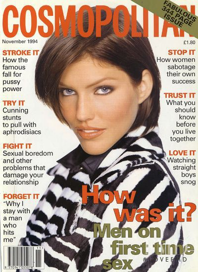 Tricia Helfer featured on the Cosmopolitan UK cover from November 1994