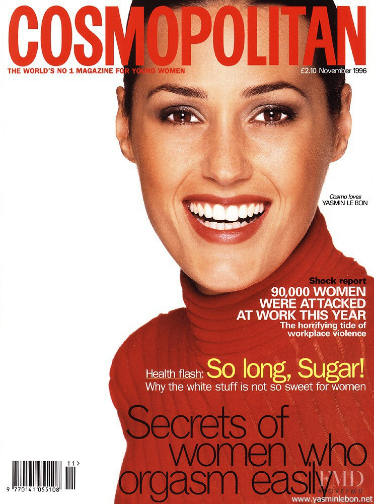 Yasmin Le Bon featured on the Cosmopolitan UK cover from November 1996