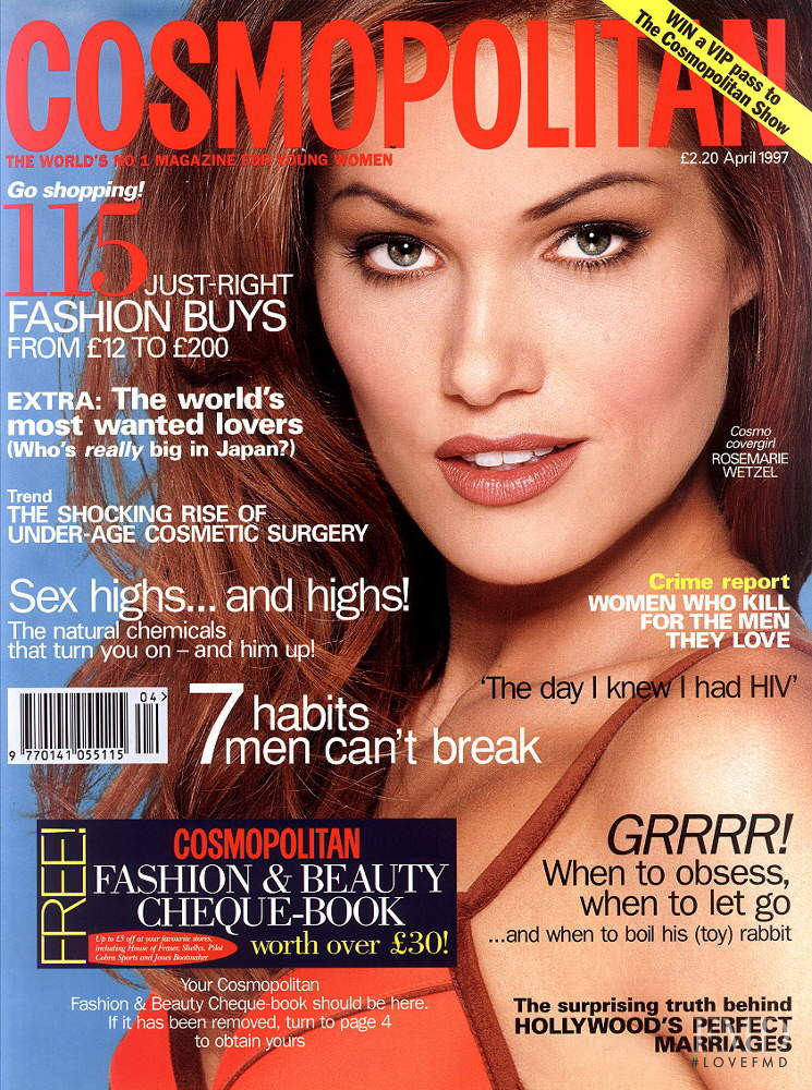 Rosemarie Wetzel featured on the Cosmopolitan UK cover from April 1997