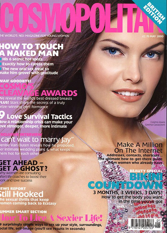 Gretha Cavazzoni featured on the Cosmopolitan UK cover from May 2000