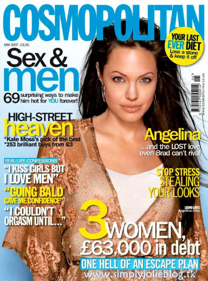Angelina Jolie featured on the Cosmopolitan UK cover from May 2007