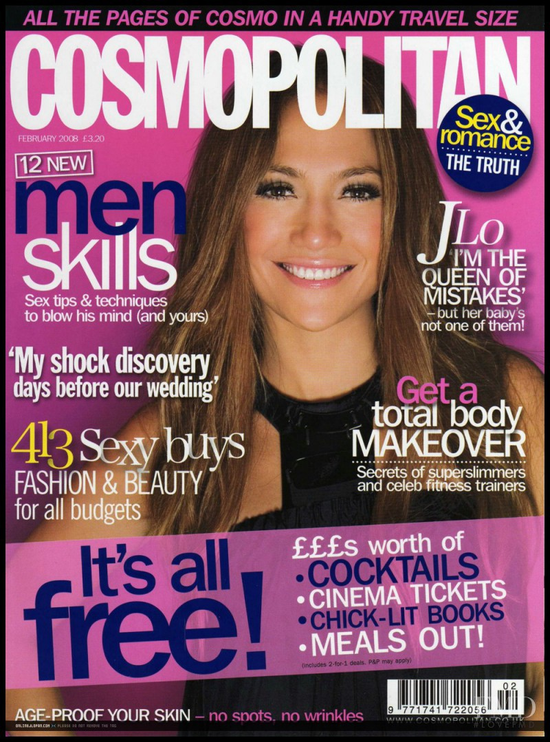 Jennifer Lopez featured on the Cosmopolitan UK cover from February 2008