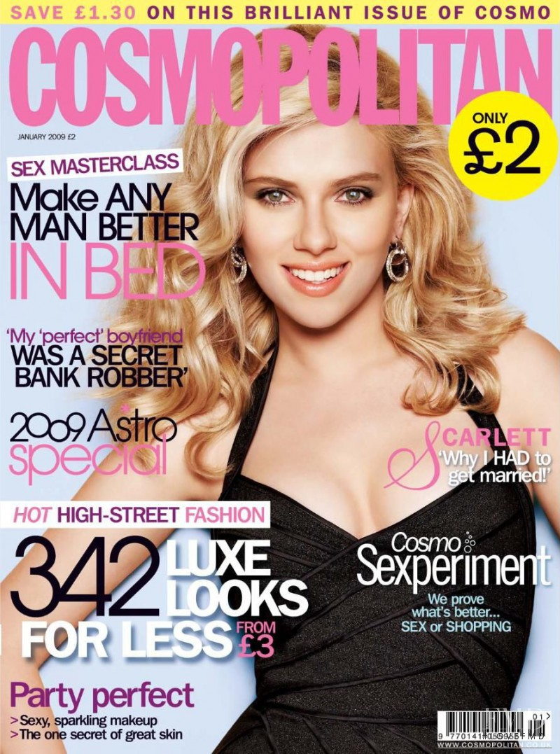 Scarlett Johansson featured on the Cosmopolitan UK cover from January 2009