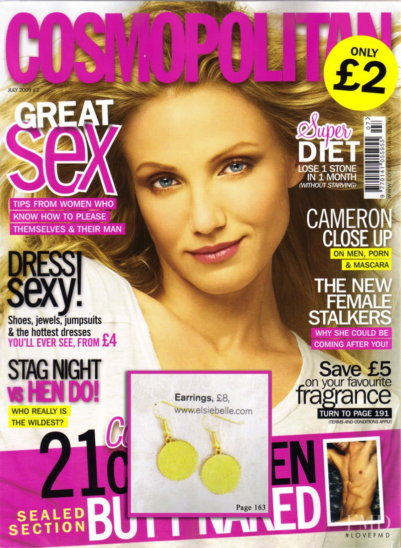 Cameron Diaz featured on the Cosmopolitan UK cover from July 2009